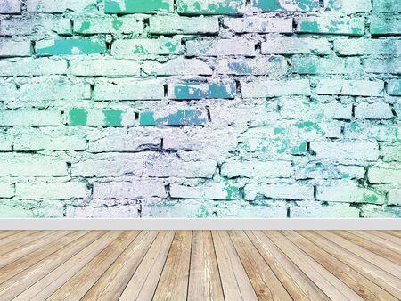 Empty room vintage blue brick wall with floor Banco de Imagens