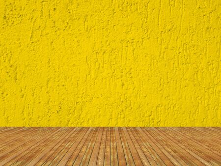 Solid yellow color grained concrete wall interior.