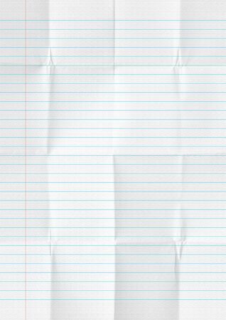 White crumpled lines paper school background Banco de Imagens
