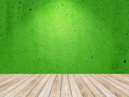Empty painted green color wall with spotlight. Interior room background. Banco de Imagens