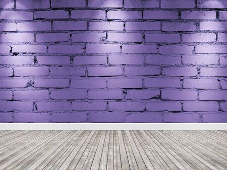 Brick wall with spotlight. Interior violet background wooden floor.