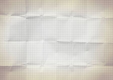 Blank millimeter old crumpled yellow gold paper grid sheet background or textured Banco de Imagens