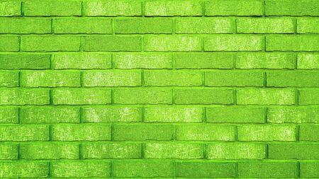 Vintage brick wall texture green background Banco de Imagens