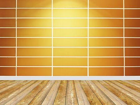 Spotlight background. Empty orange brick wall interior.