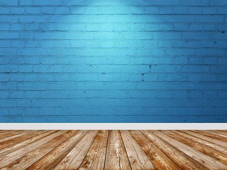 Brick wall blue color interior with spotlight. Banco de Imagens