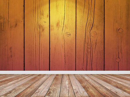 Brown wooden wall and floor in empty room.
