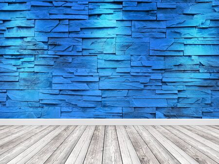 Decorative blue wall tiles with a wooden floor. Empty room background.