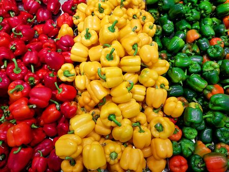 Red yellow green peppers. Colorful paprika food background.