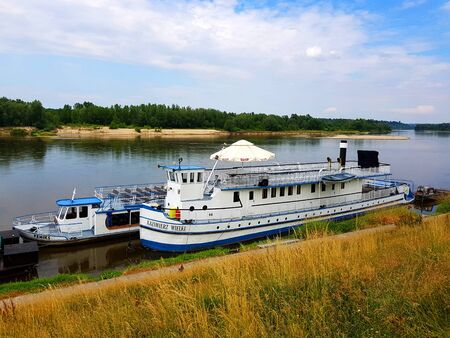 Kazimierz Dolny, Poland - June 22, 2018: Ship KAZIMIERZ WIELKI in port. Banco de Imagens - 130000601