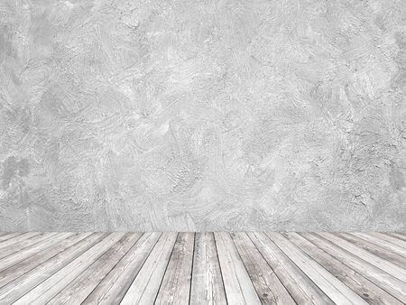 White interior painted with brush strokes wall and wood floor