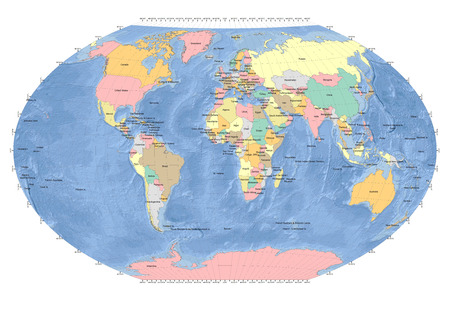 geographical locations: World Map Sphere - Countries - Ocean Background - Gray Grids