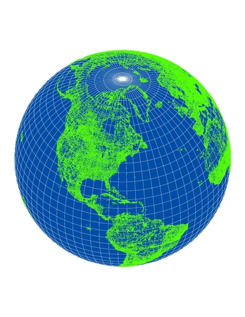 coordinates: World - Globe with Green Pattern - Blue Background