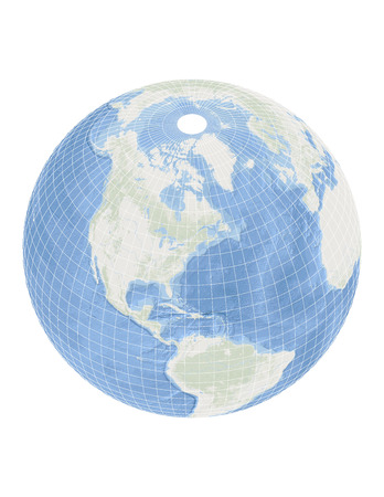 geographical locations: World - Globe with Oceans - White Grids