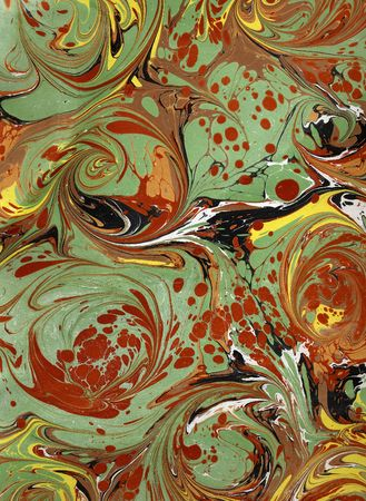 Photo of handmade (by my wife) RenaissanceVictorian Marbled Paper