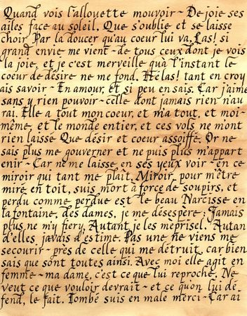 Photograph of a handmade piece of calligraphy done in French