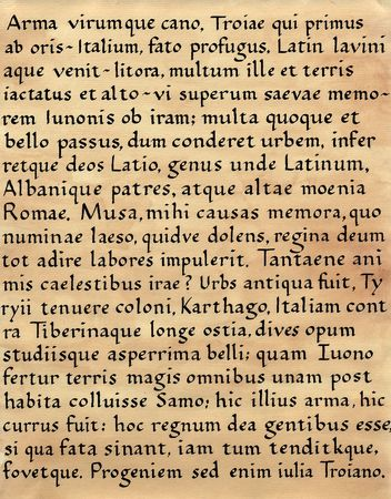 Photograph of a handmade piece of calligraphy done in Latin (from Virgils Aeneid)