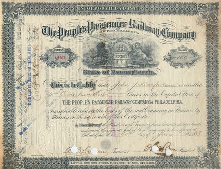 Photograph of a 19th-Century stock certificate***not under copyright****