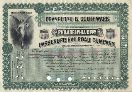 stock certificate: Photograph of a 19th-Century stock certificate***not under copyright****