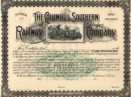 Photograph of a 19th-Century stock certificate***not under copyright**** Stock Photo - 261468