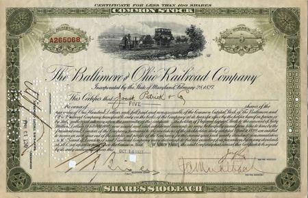stock certificate: Fotograf�a de un siglo-19a balance certificado no protegidos por derechos de autor *** ****