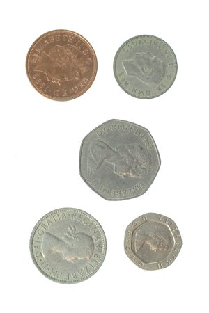 shilling: Photo of five English Coins Stock Photo
