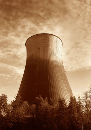 Photo of a hyperbolic cooling tower at Trojan Nuclear Park Stock Photo