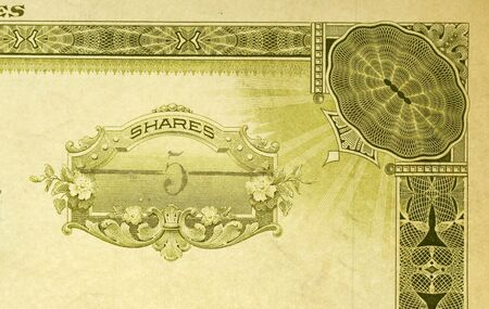 stock certificate: Shot of antique stock certificate for 5shares