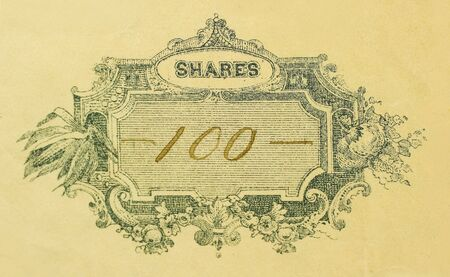 Macro shot of antique stock certificate for 100 shares