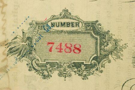 stock certificate: Macro foto de antiguas existencias certificado 7418