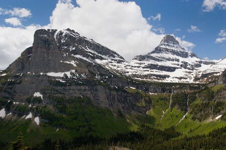 Photo of two peaks at Glacier National Park in Montana, USA Stock Photo - 293208