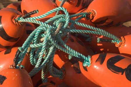 crab pots: Photo of a collection of tangled fishing floats