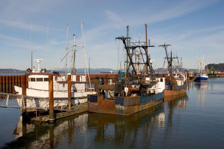 white salmon river: Photo of old  fishing boats docked at the East Mooring Basin in Astoria, Oregon.