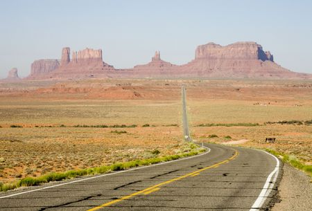 Photograph of Monument Valley right after sunrise.