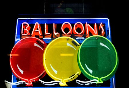 Photo of  a neon sign for balloons Stock Photo