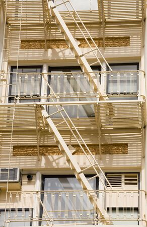 Photo of a fire escape on a historic brick building in downtown Portland. photo