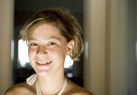 dance preteen: Photo of a beautiful girl with brown eyes.