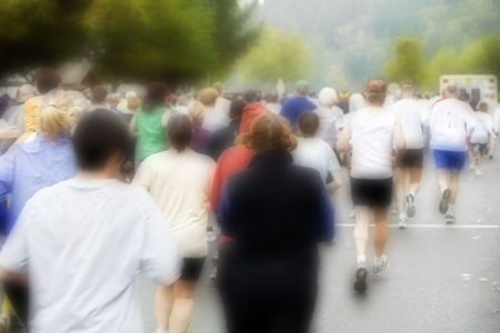 Photo of runners at the Great Columbia Crossing, 2006.