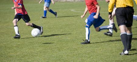 Photo of a girls soccer match.