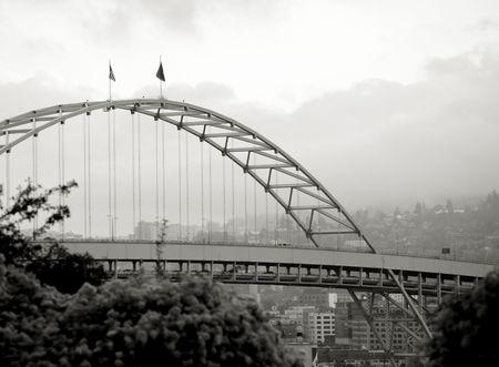 Photo of the Fremont Bridge in Portland, Oregon. Stock Photo