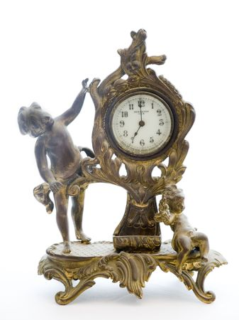 Photo of an antique clock with cherubs on a white background. The clock is copyright 1903 and I own it. Stock Photo