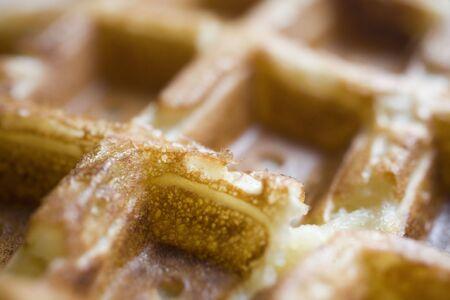 Photo of a Belgian waffle shot up close with a macro lens. 版權商用圖片