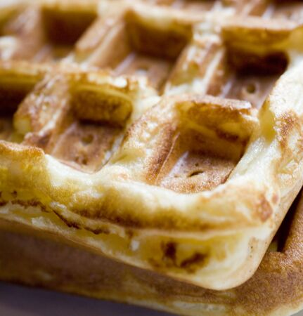 Photo of a Belgian waffle shot up close with a macro lens. 版權商用圖片