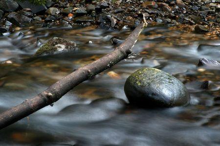 rushing water: Photo of rushing water, fallen log, and rock.