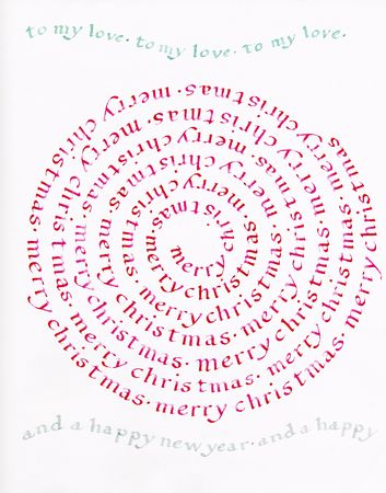 Circular calligraphy celebrating love and Christmas (made by the photographer)