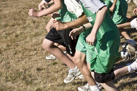 cross country: Cruz corredores pa�s despegue en un pack de la l�nea de salida.  Foto de archivo