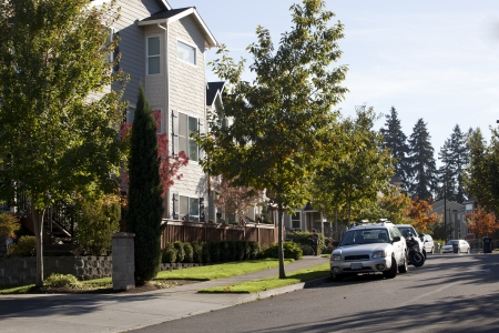 recently: Recently built suburban condos in trendy new subdivision Stock Photo
