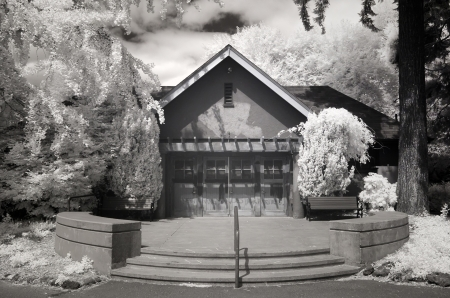 buliding: Infrared photo of a buliding at Laurelhurst Park in Portland, Oregon. Editorial