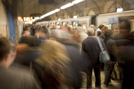 commuters: A busy subway station in Rome, Italy at rush hour.