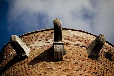 medeival: An attractive medeival brick tower in Italy.