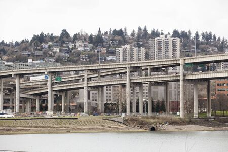 willamette: Marquam Bridge and Willamette River with downtown Portland in the distance. Stock Photo